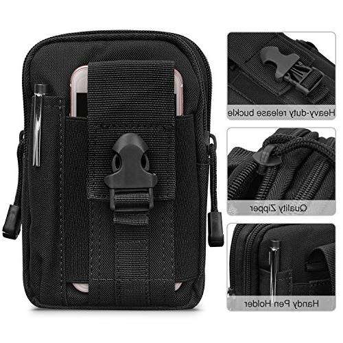 "MoKo Outdoor Waist Bag, EDC Molle Pouch Camping Purse 6.5"" iPhone Samsung Google Pixel XL"