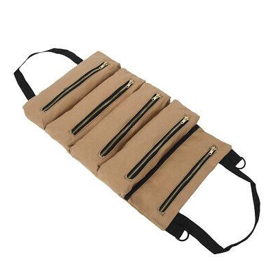 Tool Roll Up Waxed Canvas Tote Carrier Small