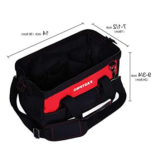 FASTPRO Zip-top Wide Mouth Open Storage Bag, Black&Red Fashionable Design, Fabric Endurance, Strap