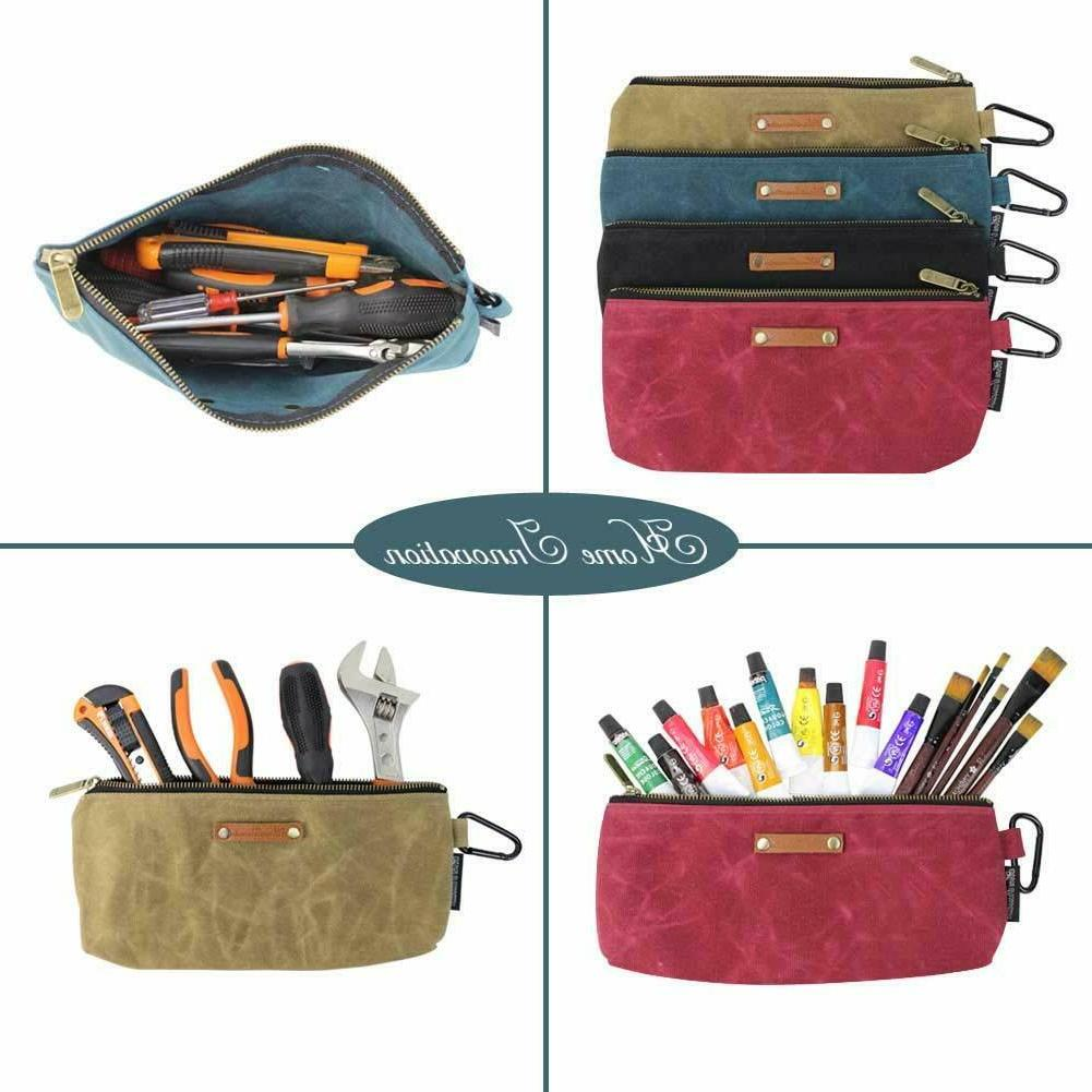 4 Zipper Pouch Bags Waxed Canvas Heavy Zipper and Carabiner