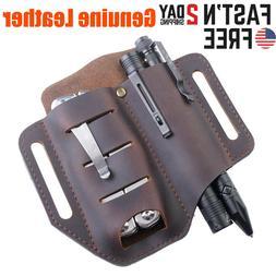 Leather Sheath Pocket Case Knife Belt Key Holder EDC Tools K