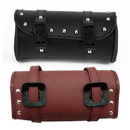 Motorcycle Tool Bag Leather Luggage Handle Bar Strap Round B