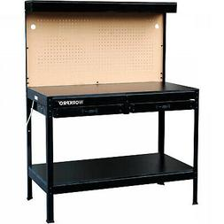 Multi Purpose 48in. Steel Workbench with Work Light and outl