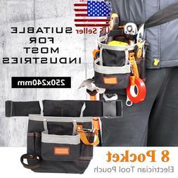 Multifunctional Tool Bag Electrician Waist Pack 8 Pocket Bel
