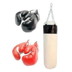 PUNCHING BAG w/ 2 PAIRS OF BOXING GLOVES MMA Training Sparri