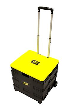 Quik Cart Two-Wheeled Collapsible Handcart with Yellow Lid R