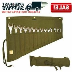 Roll Up Tool Pouch Wrench Set Socket Slot Organizer Canvas B
