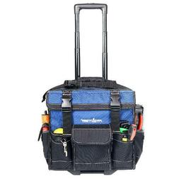 Rolling Tool Bag 15-inch Tote With Pop Up Handle Wheels Cons