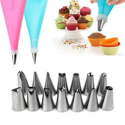 Silicone DIY Icing Piping Cream Pastry Bags +14Nozzle Sets C