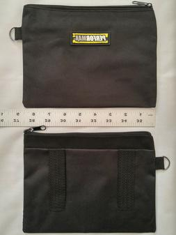 SMALL ZIPPER BAG TOOL CASE STORAGE POUCH BLACK CANVAS TOTE B