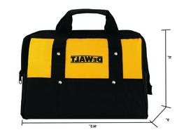 "Dewalt Tool Bag Heavy Duty Nylon Med 14.5"" w Runners + 3 O"