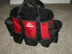 HUSKY TOOL BAG TOTE CARRYING CASE BLACK RED HEAVY CANVAS HAN