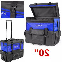 Tool Bag Tote Rolling Tool Box Organizer w/ Telescoping Hand