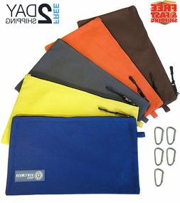 Tool Pouch Zipper Bag | 5 Pack Utility Bags | Heavy Duty 12.