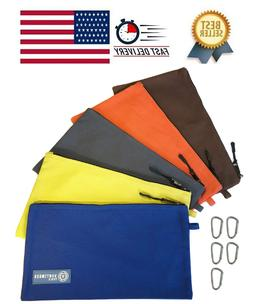 Tool Pouch Zipper Bag 5 Pack Utility Bags Heavy Duty 12.5-In