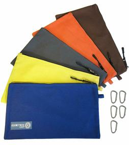 Tool Pouch Zipper Bag | 5 Pack Utility Bags | Heavy Duty 12.