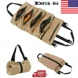 Tool Roll Up Bag Canvas Pouch Tool Wrench Storage Carrier Ho