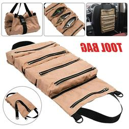 US Tool Roll Up Bag Waxed Canvas Storage Pouch Tools Tote Ca