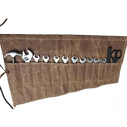 Waxed Canvas Multi-purpose Roll Up Organizer Tool Bag with 1