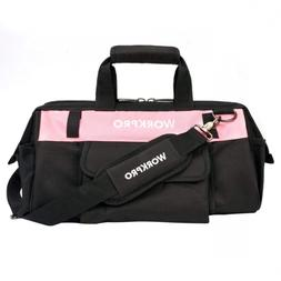 WORKPRO 16-inch Tool Bag - Pink Lady Organizer, Wide Mouth O