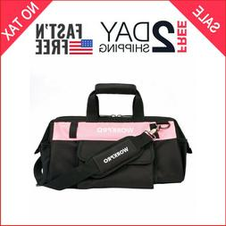 WORKPRO Tool Bag 16-inch Pink Lady Wide Mouth Open Tote Mult