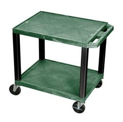 Offex WT26HG-B Tuffy AV Cart Hunter Green 2 Shelves Black Le