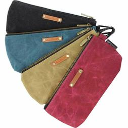 Zipper Pouch Tool Bags Waxed Canvas with Heavy Duty Metal Zi