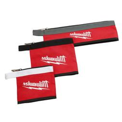 Milwaukee Zipper Tool Pouches Bags 14, 8, and 6 in. Stand-Up